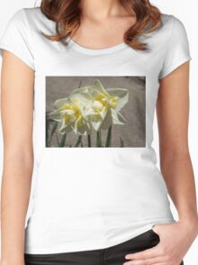 Pastel Yellow Spring - a Pair of Double Daffodils Women's Fitted Scoop T-Shirt