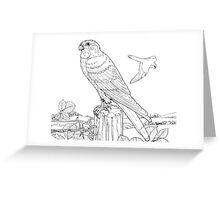 Kestrel Black on White Greeting Card