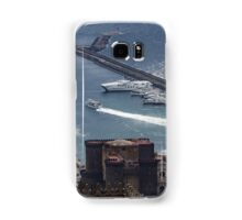 Naples Distinctive Harbor in Silver and Blue - Castles and Cruise Ships From Above Samsung Galaxy Case/Skin