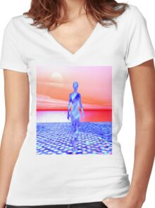 Ocean Sunrise Women's Fitted V-Neck T-Shirt