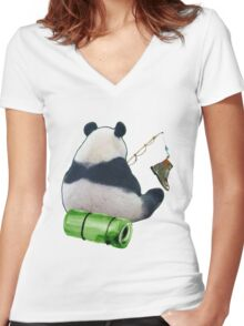Unlucky panda Women's Fitted V-Neck T-Shirt