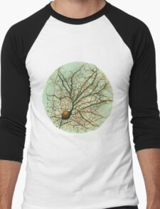 Dendritic tree and spines of an hippocampal neuron - watercolor - green Men's Baseball ¾ T-Shirt