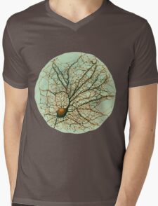 Dendritic tree and spines of an hippocampal neuron - watercolor - green Mens V-Neck T-Shirt