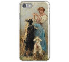 Young Woman Feeding Goats by Vincenzo Caprile iPhone Case/Skin
