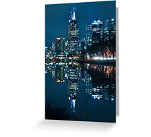 Melbourne City Skyline by Night Greeting Card