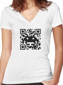 QR Monster Women's Fitted V-Neck T-Shirt
