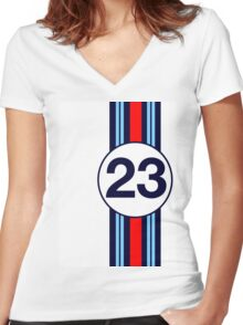 Martini Motor Racing Stripes Women's Fitted V-Neck T-Shirt