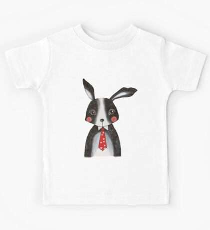 Black and White Bunny Rabbit in Neck Tie Kids Tee