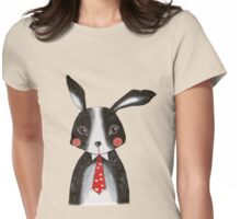 Black and White Bunny Rabbit in Neck Tie Womens Fitted T-Shirt