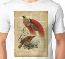 vintage print, on old book page - birds of paradise Unisex T-Shirt