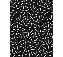 Black & White Scribble Confetti Pattern Photographic Print