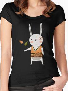 Cartoon Animals Tribal Bunny Rabbit Women's Fitted Scoop T-Shirt