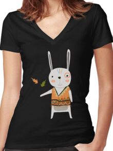 Cartoon Animals Tribal Bunny Rabbit Women's Fitted V-Neck T-Shirt