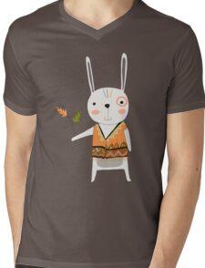 Cartoon Animals Tribal Bunny Rabbit Mens V-Neck T-Shirt