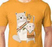 Cartoon Animals Tribal Bear and Bunny Rabbit Unisex T-Shirt