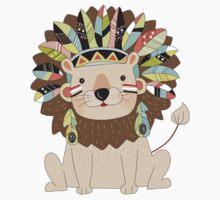 Cartoon Wild Animals Tribal Lion Baby Tee