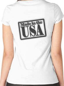 Made in the USA, Manufactured in American, America, USA, in Black Women's Fitted Scoop T-Shirt