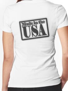 Made in the USA, Manufactured in American, America, USA, in Black Women's Fitted V-Neck T-Shirt
