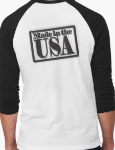 Made in the USA, Manufactured in American, America, USA, in Black Men's Baseball ¾ T-Shirt