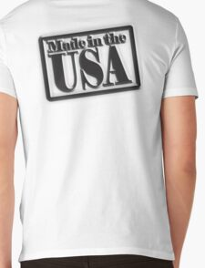 Made in the USA, Manufactured in American, America, USA, in Black Mens V-Neck T-Shirt