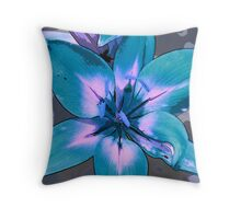 Photoshop Lily blue Throw Pillow