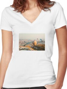 Flying hot air balloon over the Cappadocia Women's Fitted V-Neck T-Shirt