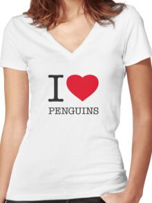 I ♥ PENGUINS Women's Fitted V-Neck T-Shirt
