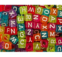 Bright Alphabet Cubes Photographic Print