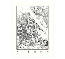 Vienna Map Schwarzplan Only Buildings Urban Plan Art Print