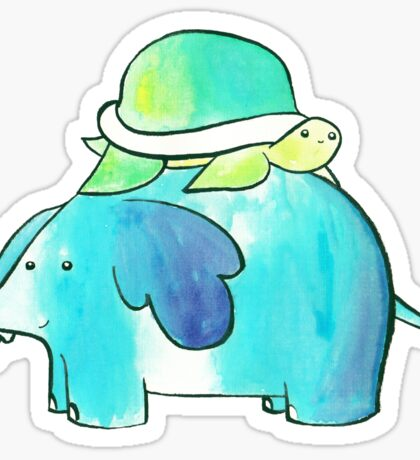 Turtle and Elephant Watercolor Sticker