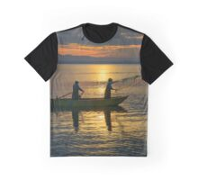 Casting nets in the sunset, Monte del Lago, Lago Trasimeno, Umbria, Italy Graphic T-Shirt
