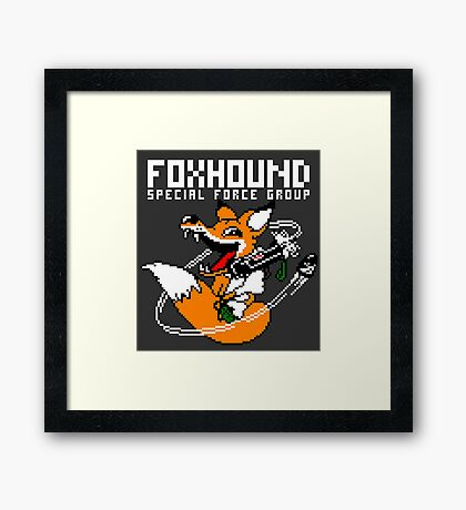 FOXHOUND PIXELART FOX WHITE Framed Print