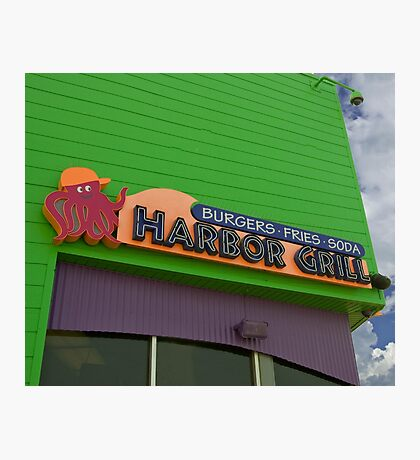 Colorful Hamburger Joint on the Boardwalk Photographic Print