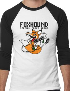 FOXHOUND PIXELART FOX BLACK Men's Baseball ¾ T-Shirt