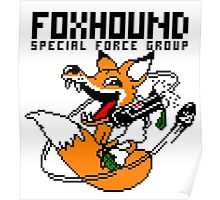FOXHOUND PIXELART FOX BLACK Poster