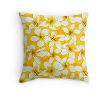 Plumeria and Frangipani. Seamless Pattern with Yellow Flowers Throw Pillow