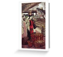 Vintage famous art - James Tissot - Waiting At The Station  Greeting Card