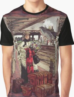 Vintage famous art - James Tissot - Waiting At The Station  Graphic T-Shirt