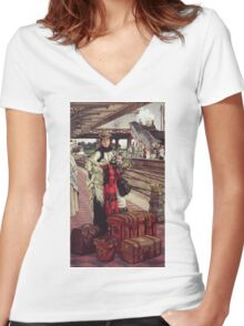 Vintage famous art - James Tissot - Waiting At The Station  Women's Fitted V-Neck T-Shirt