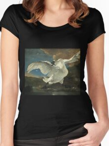 Vintage famous art - Jan Asselyn - The Threatened Swan Women's Fitted Scoop T-Shirt