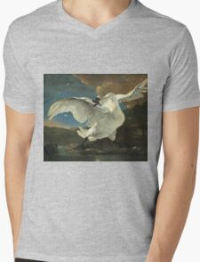 Vintage famous art - Jan Asselyn - The Threatened Swan Mens V-Neck T-Shirt