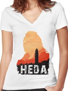 heda Women's Fitted V-Neck T-Shirt