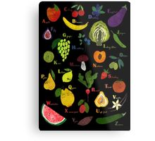 Fruit and vegetables English alphabet on dark Metal Print