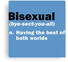 Funny Bisexual Dictionary Definition Quote Gay Saying Canvas Print