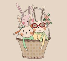Easter Three Bunnies in a Basket Womens Fitted T-Shirt