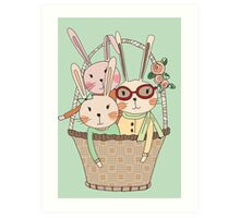 Easter Three Bunnies in a Basket Art Print