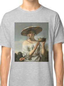 Vintage famous art - Cesar Van Everdingen  - Young Woman With A Large Hat Classic T-Shirt