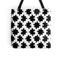 Puzzled Pattern - Classic Black & White Puzzles Tote Bag