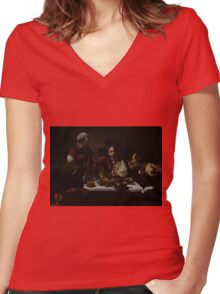 The Supper at Emmaus - Caravaggio Women's Fitted V-Neck T-Shirt