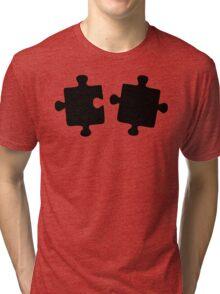 Puzzled Pattern - Classic Black & White Puzzles Tri-blend T-Shirt